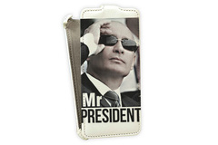 Флип-кейс для HTC Windows Phone 8x белый, с принтом - «Mr.Prezident»