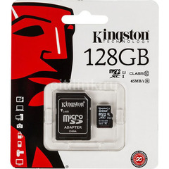 Карта памяти micro SDHC Kingston Class10 с адаптером SD 128Gb (GS9227)